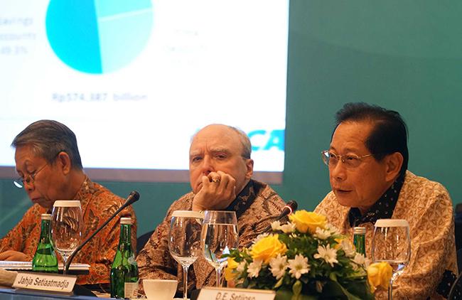 Presiden Direktur PT Bank Central Asia Tbk (BCA) Jahja Setiaatmadja (kanan) bersama Wakil Presiden Direktur BCA Eugene Keith Galbraith (kedua kiri) dan Direktur BCA, Suwignyo Budiman  saat  memberikan keterangan pers Hasil Kinerja Sembilan Bulan Pertama 2017 BCA di Jakarta, Kamis (26/10). Kinerja keuangan BCA sepanjang sembilan bulan pertama tahun 2017 mengalami peningkatan laba bersih sebesar 11,3 persen menjadi Rp16,8 triliun, dari Rp15,1 triliun pada periode yang sama tahun sebelumnya.